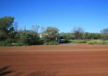 Roadsite camp near Alice Springs