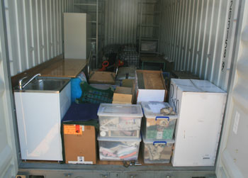 Inside container